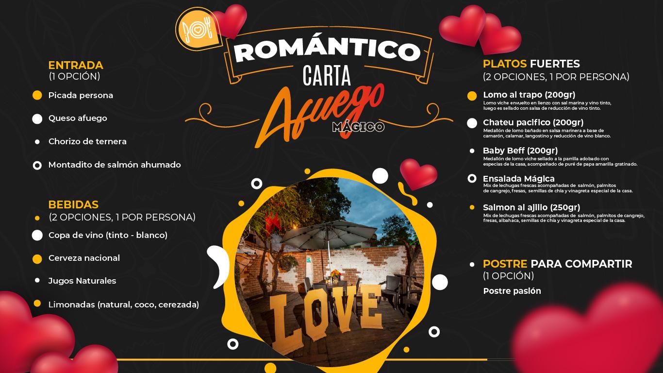 Restaurante Bar Afuego Paquete Cena Romántica carta