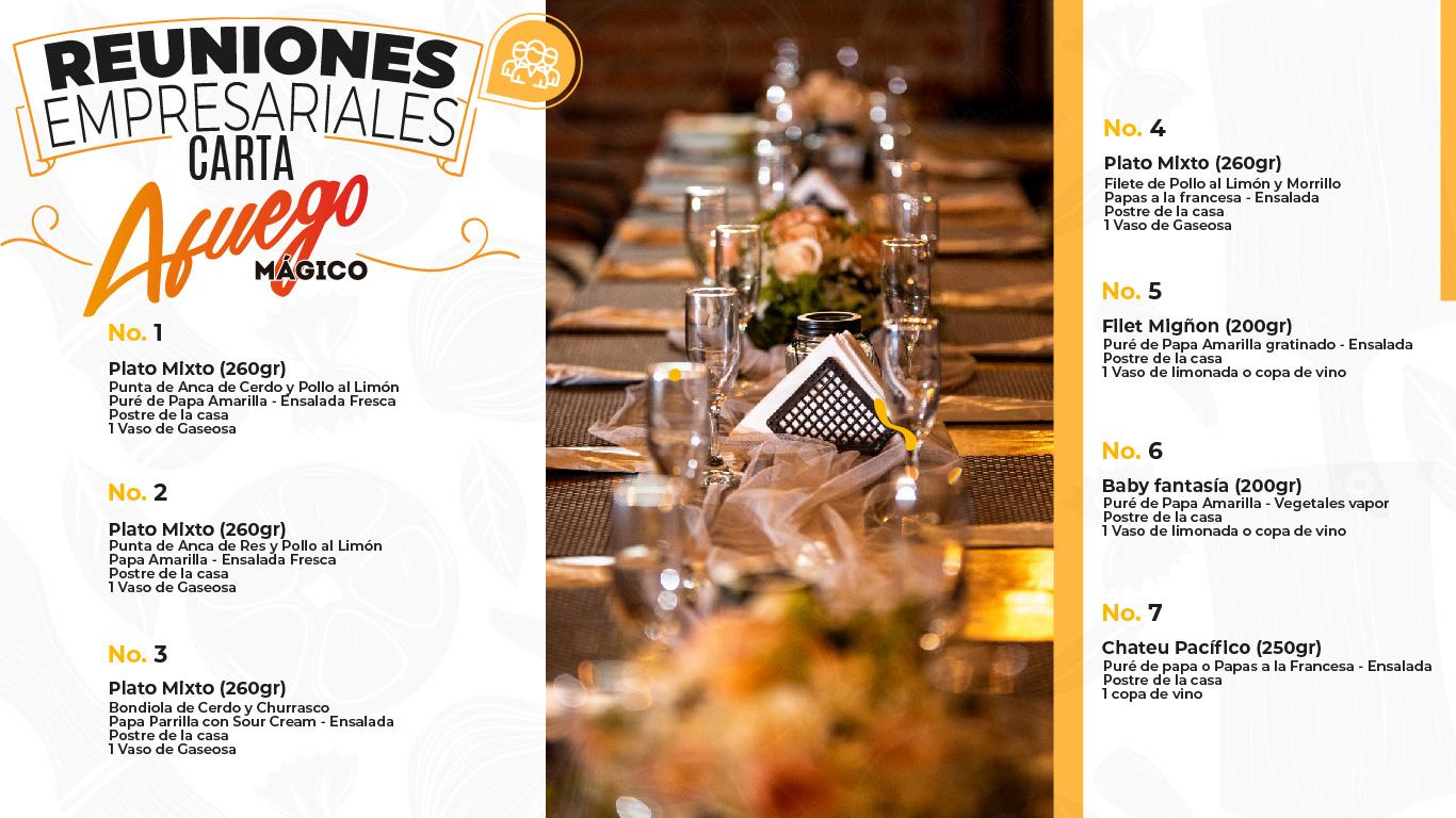 Restaurante Bar Afuego Paquete empresarial carta